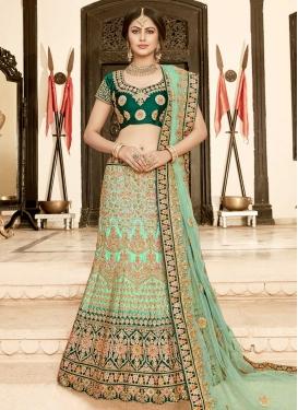 Green and Sea Green Silk Trendy Lehenga Choli