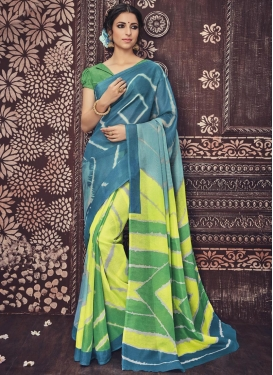 Green and Teal Art Silk Trendy Classic Saree