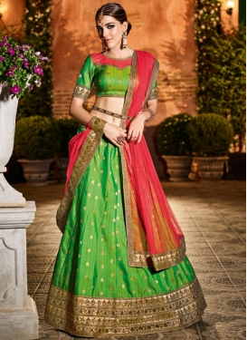 Green and Tomato Lehenga Choli