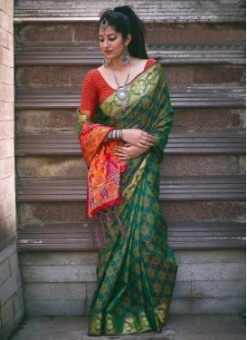 Green and Tomato Patola Silk Contemporary Saree