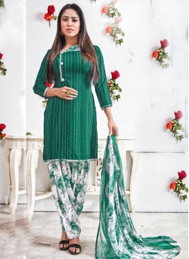 Green and White Patiala Salwar Kameez For Casual