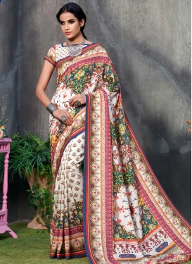 Green and White Trendy Saree