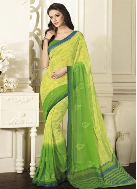 Green and Yellow Booti Work Contemporary Saree