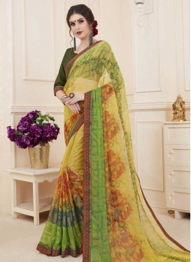 Green and Yellow Digital Print Work Traditional Designer Saree