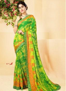 Green and Yellow Faux Chiffon Trendy Saree