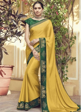 Green and Yellow Lace Work Designer Contemporary Style Saree