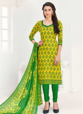 Green and Yellow Trendy Churidar Salwar Kameez