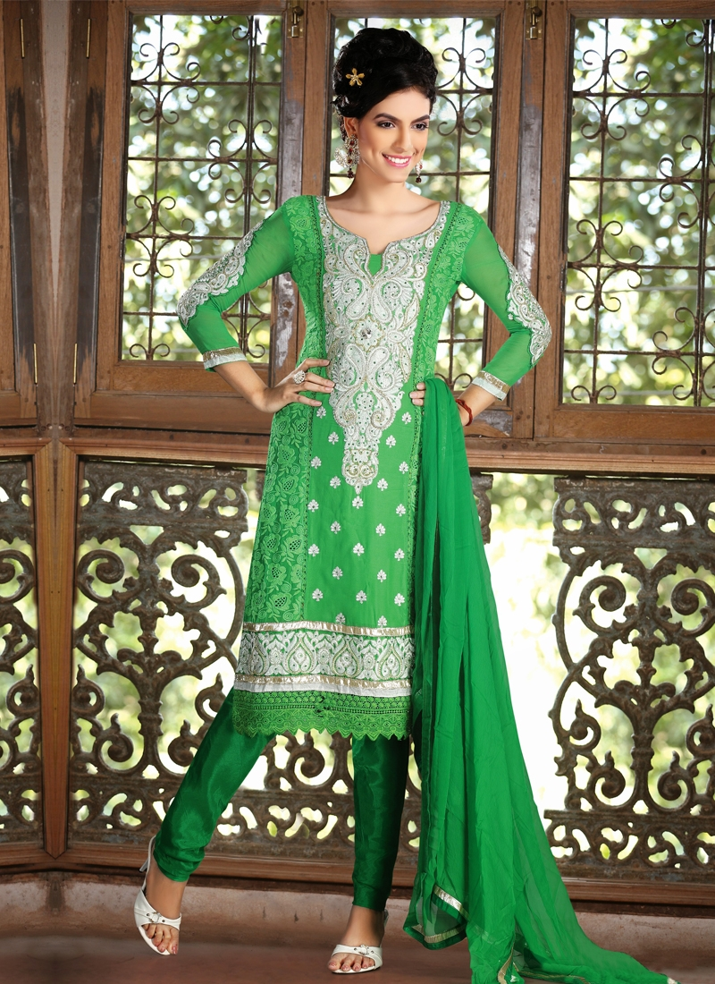 Green Color Faux Georgette Party Wear Salwar Suit