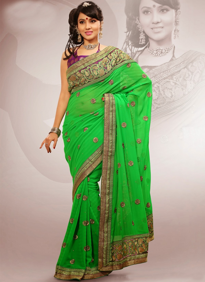 Green Color Multi Work Party Wear Saree