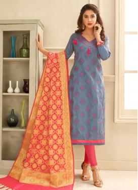 Grey and Hot Pink Churidar Salwar Kameez