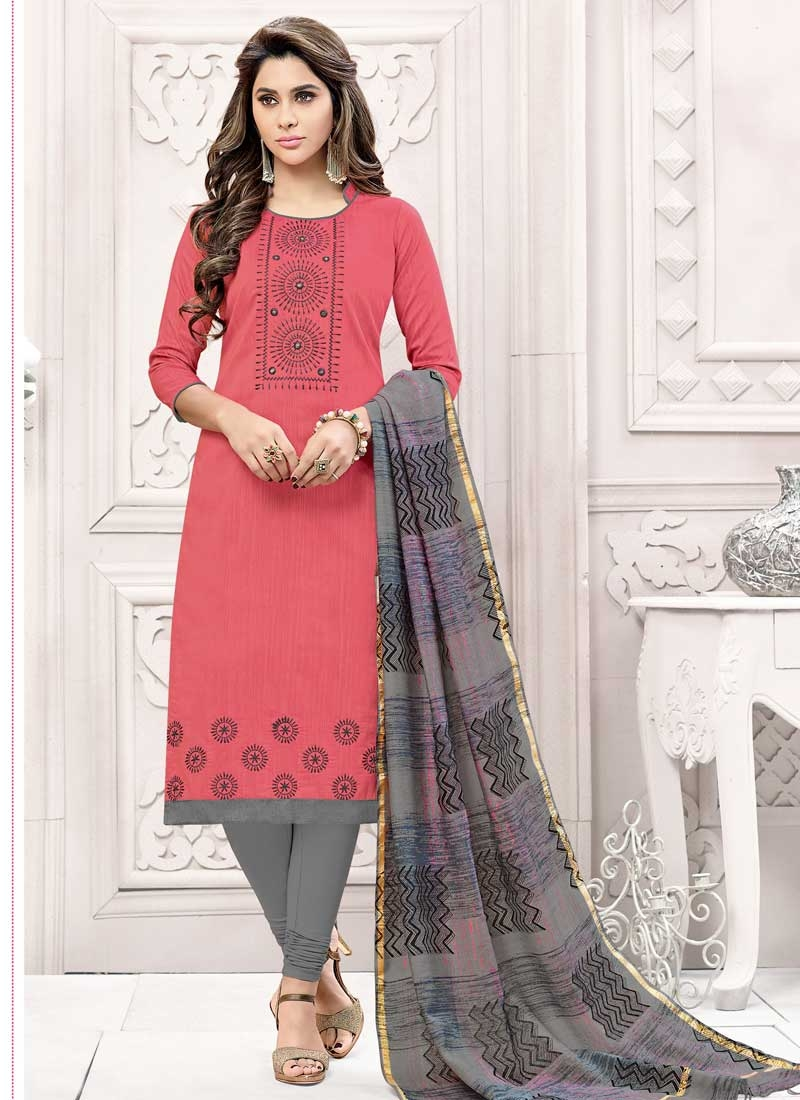 Grey and Hot Pink Cotton Silk Churidar Salwar Kameez