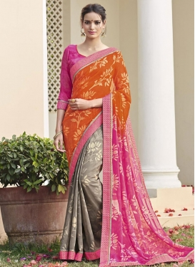 Grey and Hot Pink Half N Half Trendy Saree For Ceremonial