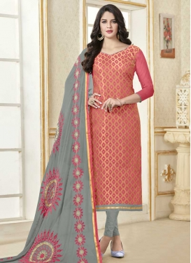 Grey and Hot Pink Lace Work Trendy Straight Salwar Suit