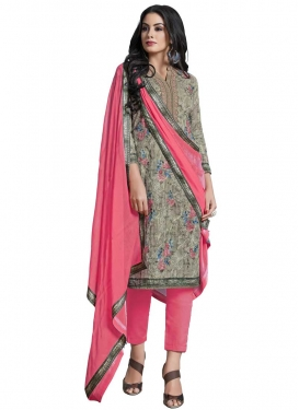 Grey and Hot Pink Pant Style Classic Salwar Suit