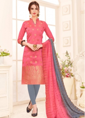 Grey and Hot Pink Thread Work Churidar Salwar Suit