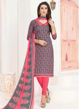 Grey and Hot Pink Trendy Churidar Salwar Suit For Casual