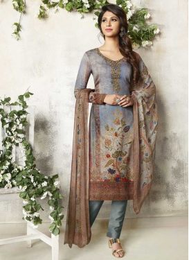 Grey and Light Blue Digital Print Work Pant Style Classic Salwar Suit