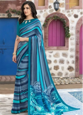 Grey and Light Blue Faux Georgette Designer Contemporary Style Saree For Casual