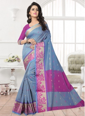 Grey and Magenta Banarasi Silk Classic Saree