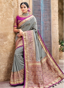 Grey and Magenta Embroidered Work Traditional Saree