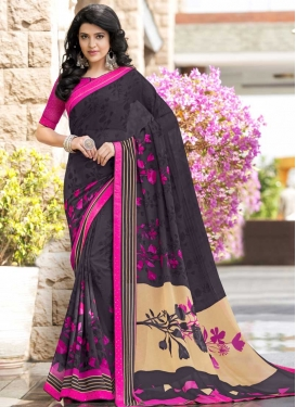 Grey and Magenta Faux Georgette Trendy Saree For Ceremonial