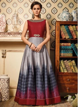 Grey and Maroon Lace Work Long Length Anarkali Suit