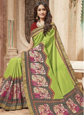 Grey and Mint Green Art Silk Trendy Saree