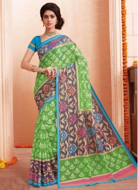 Grey and Mint Green Contemporary Style Saree