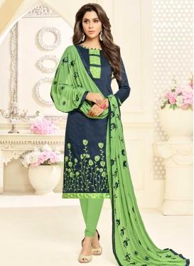 Grey and Mint Green Cotton Churidar Salwar Kameez