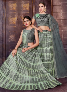 Grey and Mint Green Designer Classic Lehenga Choli