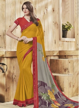 Grey and Mustard Faux Georgette Contemporary Style Saree