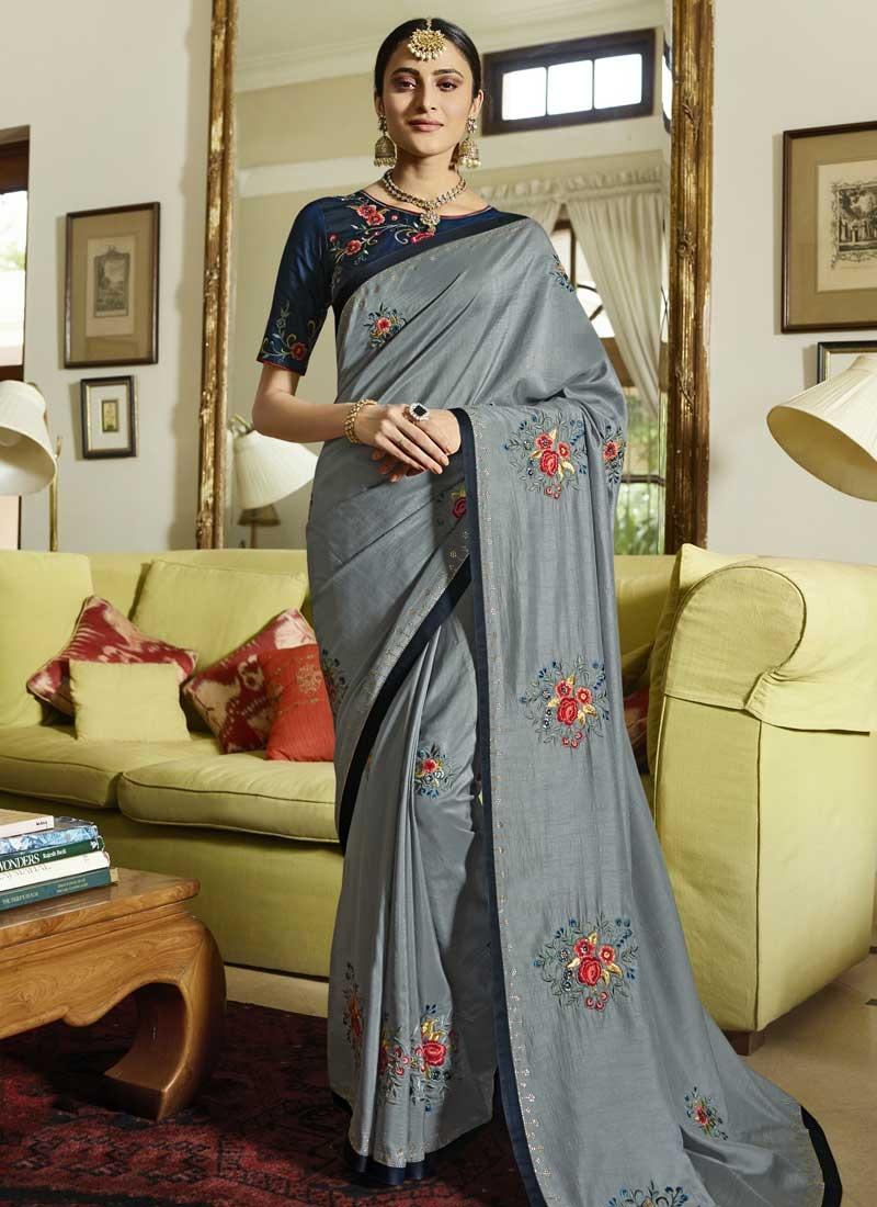 Grey and Navy Blue Art Silk Classic Saree