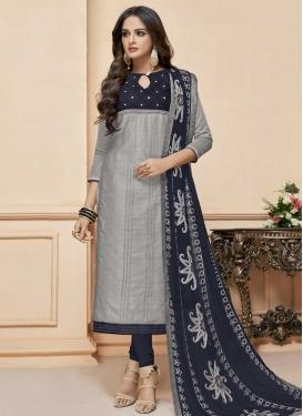 Grey and Navy Blue Churidar Salwar Suit