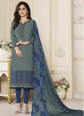 Grey and Navy Blue Crepe Silk Trendy Churidar Salwar Kameez