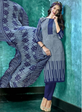 Grey and Navy Blue Crepe Silk Trendy Churidar Salwar Suit For Casual
