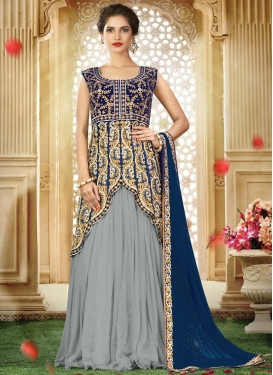 Grey and Navy Blue Designer Long Choli Lehenga