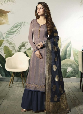 Grey and Navy Blue Designer Palazzo Salwar Suit