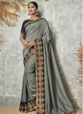Grey and Navy Blue Embroidered Work Art Silk Trendy Saree