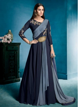Grey and Navy Blue Embroidered Work Readymade Designer Gown