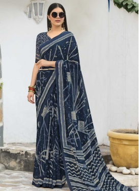 Grey and Navy Blue Faux Georgette Contemporary Saree