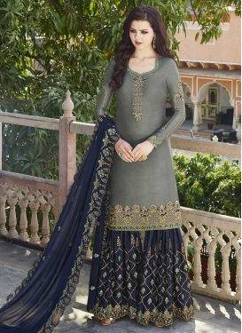 Grey and Navy Blue Faux Georgette Sharara Salwar Suit