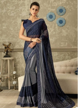 Grey and Navy Blue Half N Half Trendy Saree For Festival