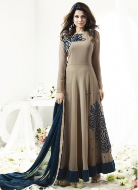 Grey and Navy Blue Lace Work Trendy Salwar Kameez