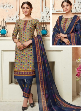 Grey and Navy Blue Pant Style Classic Salwar Suit For Casual