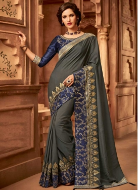 Grey and Navy Blue Satin Silk Traditional Designer Saree