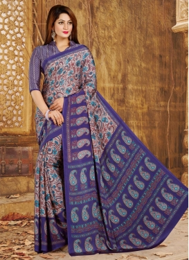 Grey and Navy Blue Traditional Saree