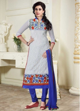 Grey and Navy Blue Trendy Churidar Suit