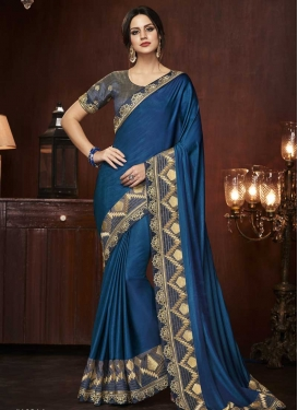Grey and Navy Blue Trendy Saree For Ceremonial