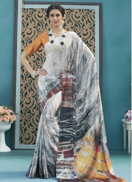 Grey and Off White Digital Print Work Contemporary Saree