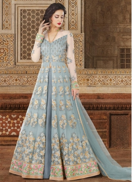 Grey and Off White Embroidered Work Designer Kameez Style Lehenga Choli